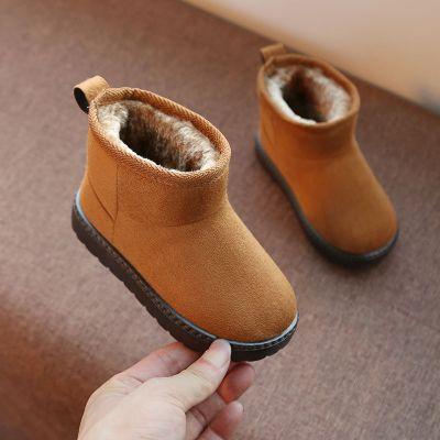 飞言女童短靴儿童雪地靴男童2019新款冬季加绒宝宝棉鞋保暖鞋子