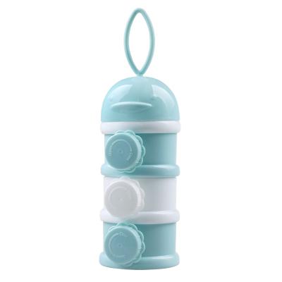 呵貝適便攜式三層奶粉盒 嬰兒寶寶奶粉儲存罐 外出分裝盒 PP材質奶粉儲存盒