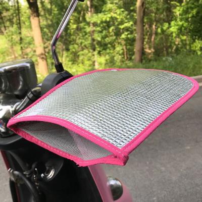 夏季電動車防曬手套摩托車把套遮陽防雨隔熱電瓶自行車車手套護手 銀色粉邊護手 均碼