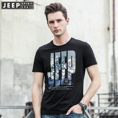 jeep吉普短袖T恤男士圓領印花時尚打底衫青年潮流休閑半袖體恤專柜正品吉普T恤