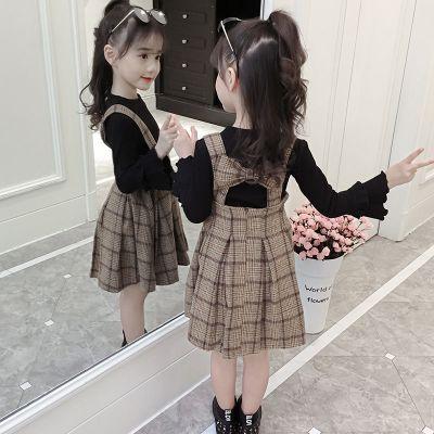 女童加厚套装秋冬装儿童韩版呢子背心裙洋气打底衫女背带裙两件套威珺