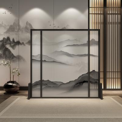半透落地座屏新中式屏風實木隔斷玄關客廳裝飾遮酒店中國風明藝術