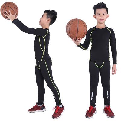 【品牌特賣】兒童足球緊身衣籃球訓練服套裝長袖健身服男彈力運動跑步打底速干 POTRAVEL.DESIGN