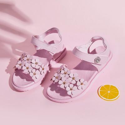 絳天童鞋女童魔術貼涼鞋2020夏新款公主鞋可愛女孩中大童小朋友花朵露趾沙灘鞋