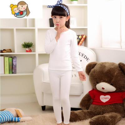 女童兒童加絨內衣套裝白色保暖秋衣秋褲幼兒寶寶緊身打底加厚