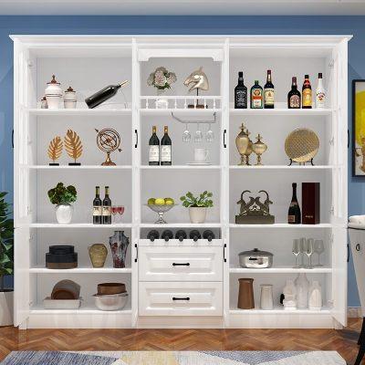夢引歐式酒柜靠墻多功能客廳餐邊柜櫥柜現代簡約落地式可定制
