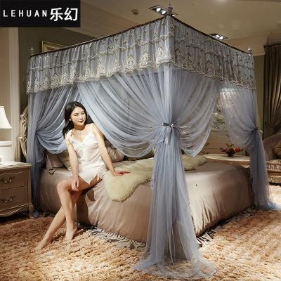 樂幻(LEHUAN)家紡 歐式奢華三開門方頂蚊帳加粗不銹鋼1.5米1.8米床落地雙人宮廷蚊帳