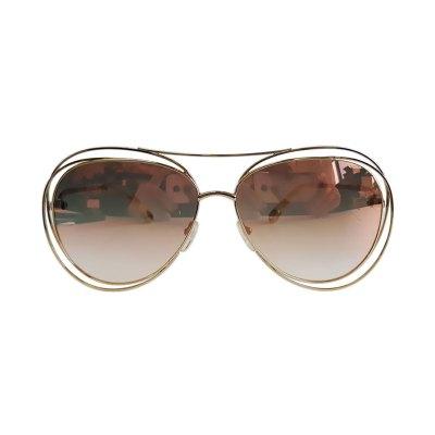 【正品二手9成新】蔻依(Chloé)18K鍍玫瑰金色 鏡框 棕色 漸變 鏡片 太陽鏡