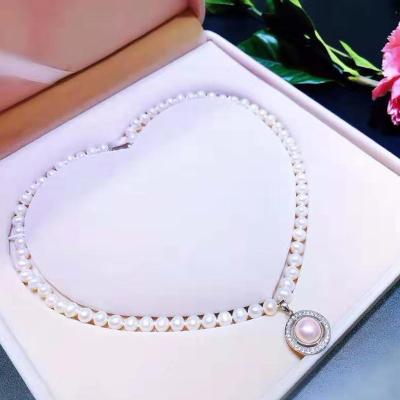 ARMASA阿瑪莎 天然淡水珍珠項鏈銀鑲珍珠吊墜送媽媽長輩岳母禮盒裝