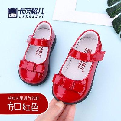 卡茨格兒學步春秋單鞋女童皮鞋寶寶鞋1-3-6歲幼兒園公主鞋兒童鞋
