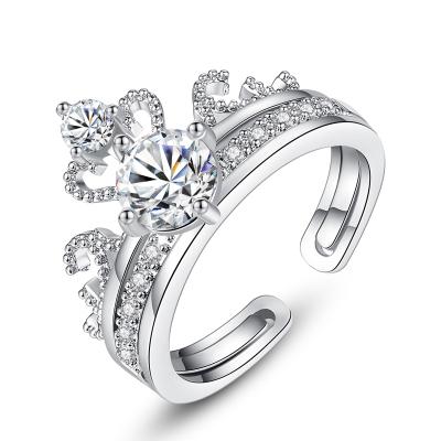 梓珊(FXM)皇冠二合一戒指女時尚鋯石戒指開口可調節s925純銀戒指女神節送女友送戀人
