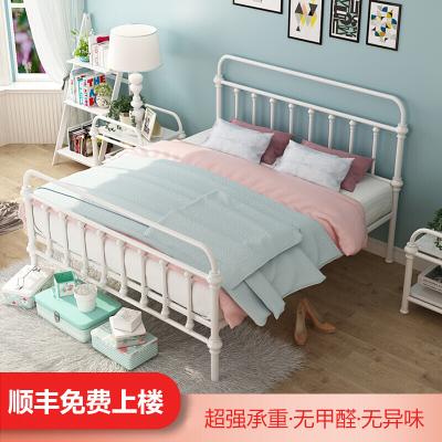 苏宁放心购铁艺床复古北欧式现代简约床1.2/1.5单人1.8米双人床公主钢架床简约新款