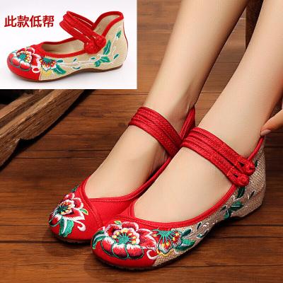 因樂思(YINLESI)北京老布鞋女秋秋新款平底透氣休閑低跟繡花鞋廣場舞蹈鞋女單鞋子