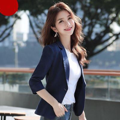 薄西裝小西裝女外套2019春夏季新款韓版修身七分袖休閑西服女短款莎丞