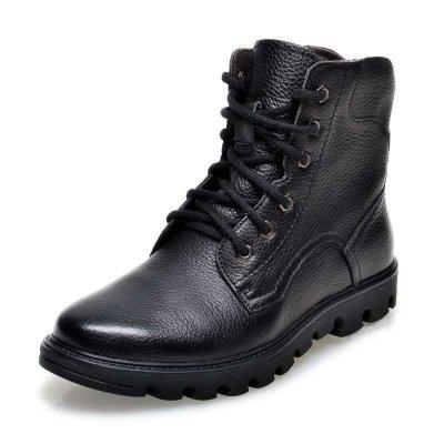 金猴(Jinho)头层牛皮英伦潮流皮毛一体保暖男棉靴SWX8004黑色