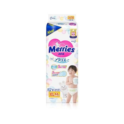 日本進口花王Merries妙而舒紙尿褲特大號XL44片尿不濕嬰兒