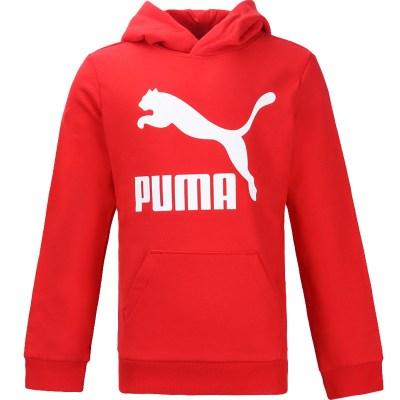 彪马(PUMA)男童大童红色连帽棉质休闲运动卫衣580341 11