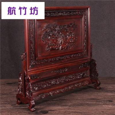 红木质雕刻屏风老挝红枝酸枝木仿古精品浮雕插屏台屏小屏风摆件