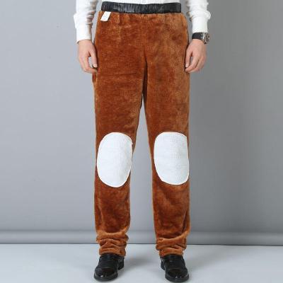 男士仿皮褲中老年男寬松休閑加絨加厚保暖防水仿皮褲男諾妮夢