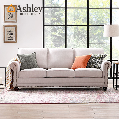 Ashley愛室麗 沙發 布藝沙發組合 美式鄉村簡約客廳沙發 實木微防水面料免洗沙發