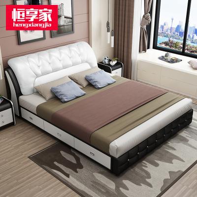 恒享家 床真皮床簡約現代實木木質婚床儲物高箱床1.8米主臥雙人床1.5米小戶型皮床872#