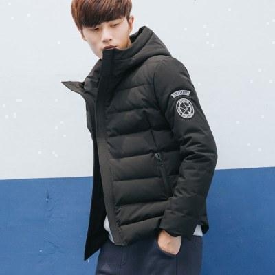 【2件1折價89.9元】唐獅羽絨服男短款連帽青少學生韓版冬裝新款加厚袖標外套潮