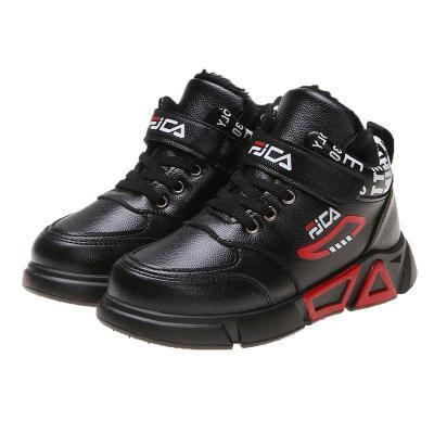 童鞋冬季男童马丁靴儿童雪地靴高帮加厚保暖学生棉皮鞋PU衫伊格(shanyige)