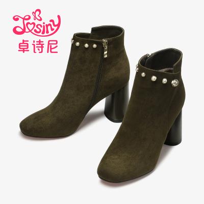 卓詩尼冬季新款高跟粗跟加絨短筒女靴側拉鏈方頭鞋12675051