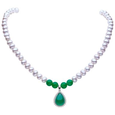 佰色传情(BRIR)强光天然淡水珍珠项链配S925银生日礼物送母亲送婆婆