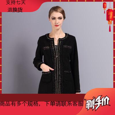 聲雨竹女裝專柜冬款 黑紅格子英倫風外套風衣長款銀蔥花邊