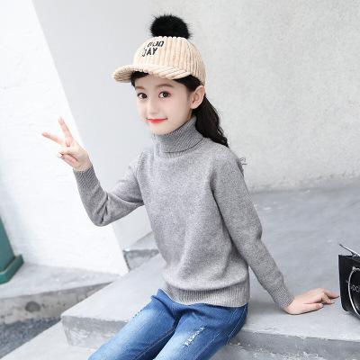 純色高領套頭衫女童韓版保暖毛衣休閑簡約百搭寶寶打底衫時尚舒適柔軟針織衫秋冬潮