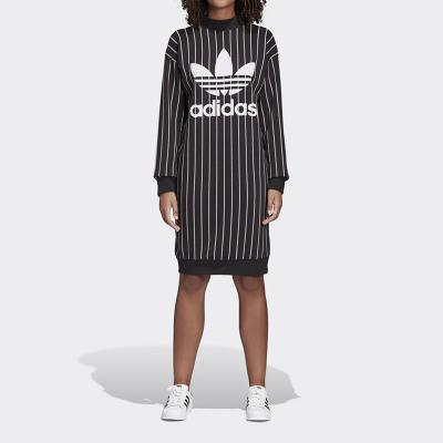 Adidas阿迪达斯三叶草女装大LOGO竖条纹运动连衣裙DY0877