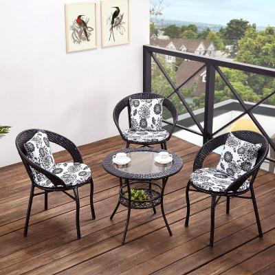 阳台桌椅藤椅三件套组合小茶几简约单人椅子暖兔休闲户外室外庭院腾椅其他简约现代