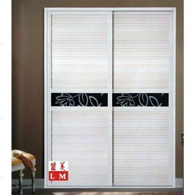 新款定做 腰线板百叶塑钢推拉壁柜 移滑动玻璃衣柜