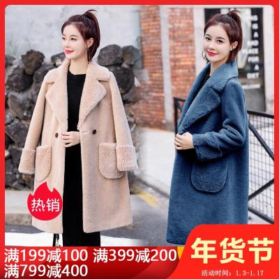 雅馨季2019冬装新款皮毛一体颗粒绒西装翻领女时尚纯色保暖大衣中长款厚外套HZ8819
