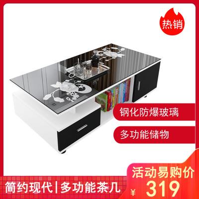 【蘇寧推薦】茶幾簡約現代簡易客廳小茶幾電視柜組合鋼化玻璃小戶型家用茶幾桌
