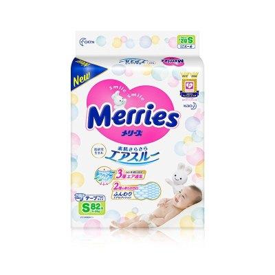 花王 MERRIES 婴儿纸尿裤 S号 S82片(4kg-8kg)日本原装进口