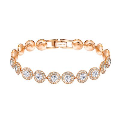 Swarovski施華洛世奇 ANGELIC玫瑰金閃亮圓形水晶手鏈 女士 送戀人 人造水晶5240513