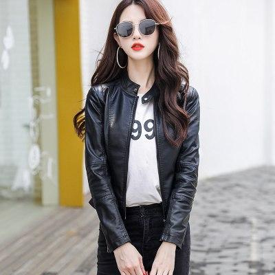 班俏BANQIAO短外套女2020秋冬新款韓版短款修身顯瘦pu皮小皮衣夾克外套女裝潮