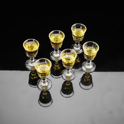 玻璃酒杯白酒杯家用烈酒杯小號啤酒杯一口杯分酒器小酒盅酒壺子彈杯 10ml高腳白酒杯6只