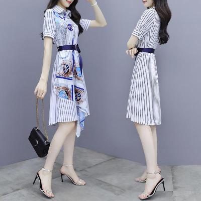 與牧2020年新款流行條紋襯衫雪紡連衣裙女夏裝收腰顯瘦氣質a字印花裙8783