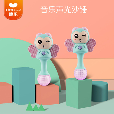 澳樂 節奏棒寶寶手搖鈴沙錘3-6-12個月新生兒嬰兒玩具0-1歲 有牙膠小蜜蜂節奏棒