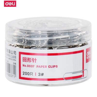 得力deli0037回形針加厚電鍍表層曲別針回行型針裝訂文具金屬書簽加厚辦公用品29mm-200枚