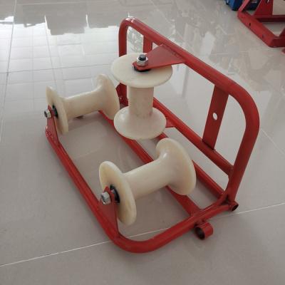电力电缆放线滑轮加强三联井口钢轮三轮转角尼龙滑轮管口保护滑车 普通款三轮转角