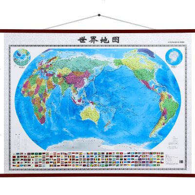 【灰度暈渲版】世界地圖掛圖 1.28米x0.96米 地形政區二合一 高清精裝 辦公室家用學生地理學習 2019防水地