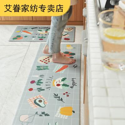 最羽 卡通廚房防水地墊防油餐廳防滑腳墊家用地毯皮革免洗墊子