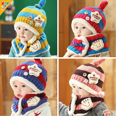 寶寶冬季童帽嬰兒加絨帽子寶寶加絨帽子冬季新款小汽車護耳帽+圍巾套裝