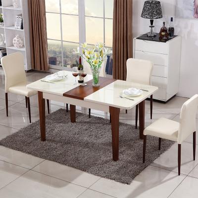 歐卡森(OUKASEN) 餐桌椅組合 簡約現代木質小戶型北歐客廳長方形鋼化玻璃餐桌椅組合