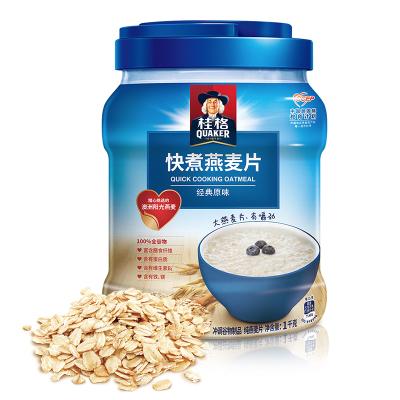 桂格(Quaker)早餐谷物 膳食纖維 快煮燕麥片(非即食)1000克 罐裝 新老包裝交替發貨