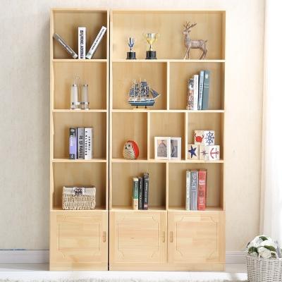 閃電客實木書柜書架帶門柜子松木兒童自由組合置物書櫥簡約現代定做定制 松木B款高180寬60(帶門) 1.4米以上寬
